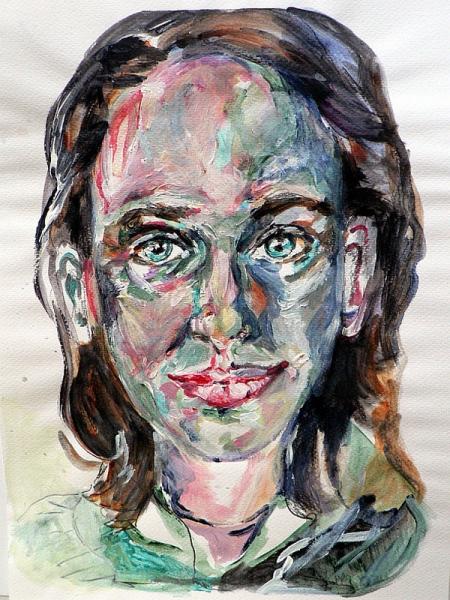 Susanne schirdewahn selbstportrait 2012 acryl und bleistift auf